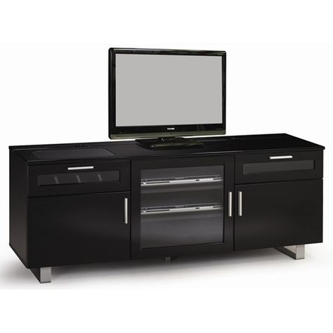 """Tv Stands Contemporary Tv Console With High Gloss Black Pertaining To Current Convenience Concepts Newport Marbella 60"""" Tv Stands (View 4 of 15)"""