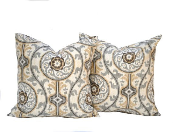 Two Medallion Pillow Covers Home Decor Decorative Pillow Within Magnolia Sectional Sofas With Pillows (View 15 of 15)