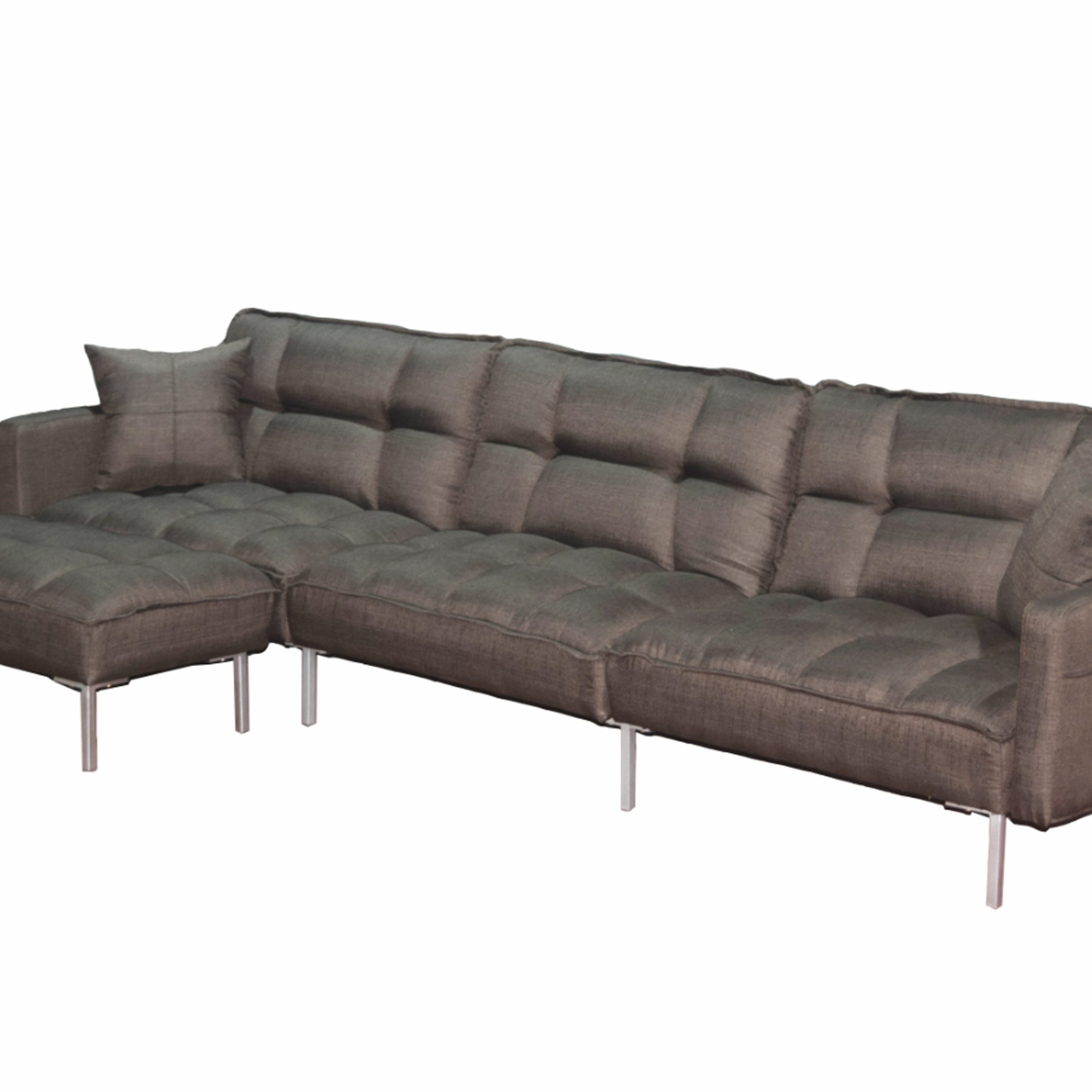 Upholstery Tufted L Shaped Sofa, 109'' X 53'' X  (View 4 of 15)