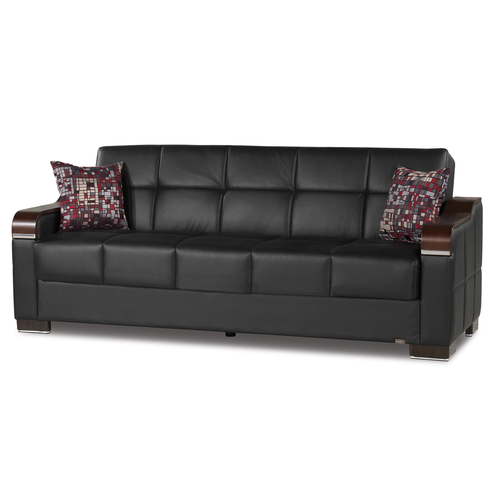 Uptown Leather Wooden Accent Arm Sleeper Sofa Bed With For Hartford Storage Sectional Futon Sofas (View 2 of 15)