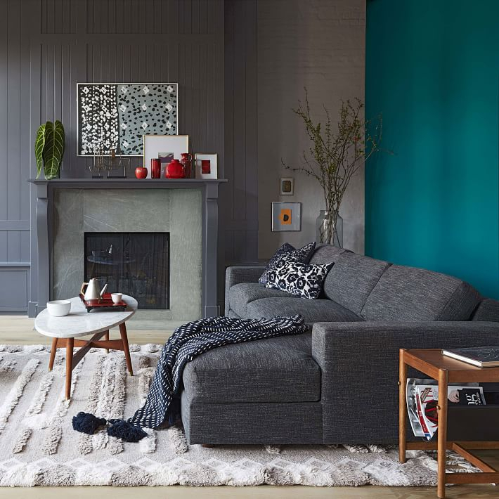 Urban 2 Piece Chaise Sectional – Pewter | West Elm Pertaining To Elm Grande Ii 2 Piece Sectionals (View 15 of 15)
