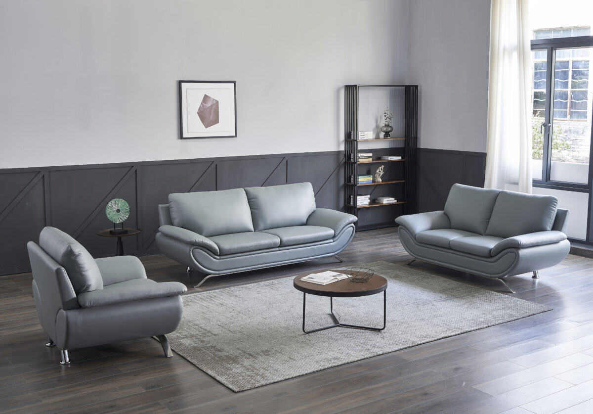 V Dallas Modern Leather Sofa Set (Grey)   Matisseco Within Ludovic Contemporary Sofas Light Gray (View 5 of 15)