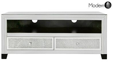 Venetian Mirrored Tv Stand With Crushed Crystal And 2 With 2017 Fitzgerald Mirrored Tv Stands (View 15 of 15)