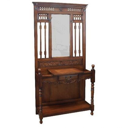 Victorian Hall Stand. Solid Mahogany With Drawer And Mirror (View 10 of 15)