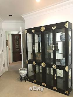 Vintage Chinoiserie Glass Door China Cabinets(2) Display Throughout Well Liked Dark Brown Tv Cabinets With 2 Sliding Doors And Drawer (View 7 of 15)