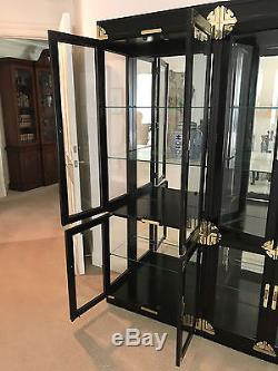 Vintage Chinoiserie Glass Door China Cabinets(2) Display With Most Recently Released Dark Brown Tv Cabinets With 2 Sliding Doors And Drawer (View 4 of 15)