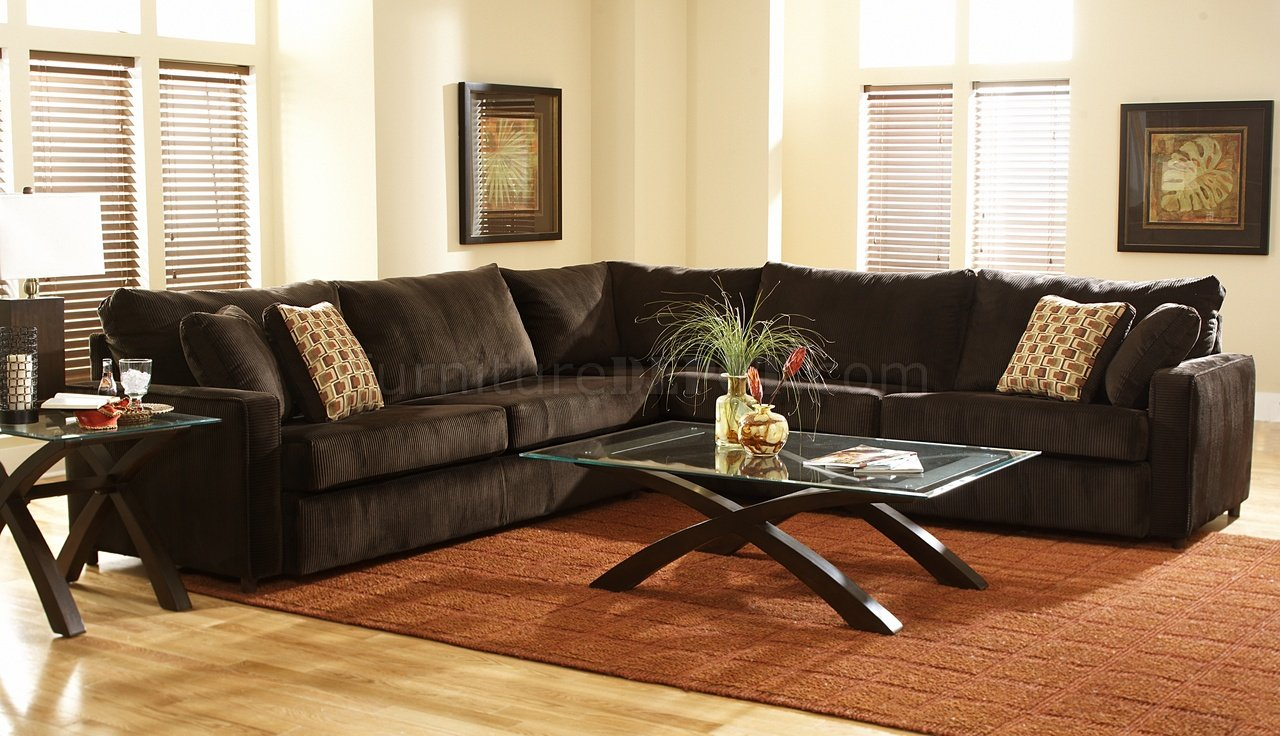 Viva Chocolate Fabric Modern Sectional Sofa W/Large Back Regarding Oversized Sectional Sofas (View 13 of 15)