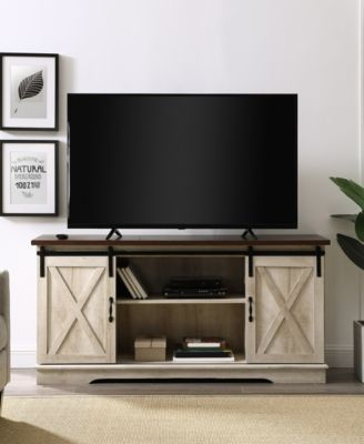 """Walker Edison 58"""" Farmhouse Tv Stand With Sliding Barn Throughout 2018 Tv Stands With Sliding Barn Door Console In Rustic Oak (View 8 of 15)"""