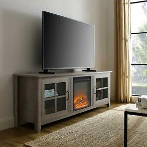 "Walker Edison 70"" Farmhouse Fireplace Wood Tv Stand – Grey Inside Newest Walker Edison Wood Tv Media Storage Stands In Black (View 6 of 15)"