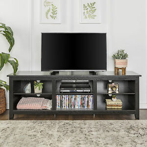 """Walker Edison 70"""" Tv Stand Black W70Cspbl W/ Storage Regarding Most Up To Date Black Tv Cabinets With Drawers (View 4 of 15)"""