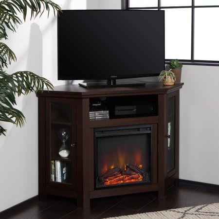 Walker Edison Espresso Corner Fireplace Tv Stand For Tvs Throughout Most Popular Walker Edison Wood Tv Media Storage Stands In Black (View 4 of 15)