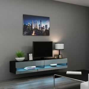 Wall Mounted Tv Stand 16 Color Led Floating Shelf Black Throughout Most Current Single Shelf Tv Stands (View 2 of 15)