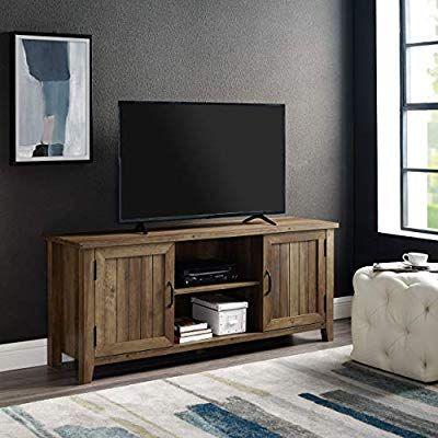 "We Furniture Az58Cs2Dro Tv Stand 58"" Rustic Oak (View 1 of 15)"
