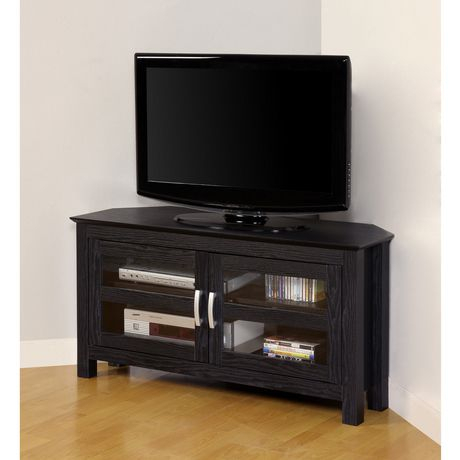 We Furniture Black Wood Corner Tv Stand With Glass Doors Throughout Fashionable Tv Cabinets With Glass Doors (View 6 of 15)