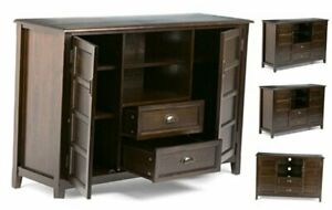 Well Known Bromley Extra Wide Oak Tv Stands With Regard To Simpli Home Burlington Solid Wood Universal Tall Tv Media (View 14 of 15)
