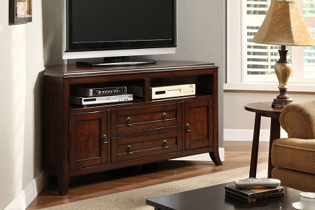 """Well Known Cornet Tv Stands Within 55"""" Cottage Solid Wood Dark Cherry Corner Tv Stand Fully (View 2 of 15)"""