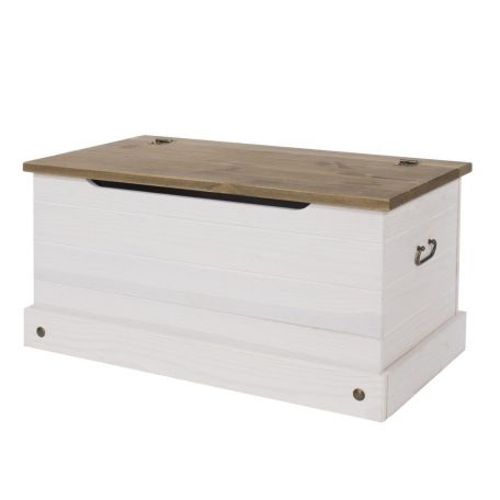 Well Known Corona Tv Stands For Corona Wax Washed Solid Pine White Storage Trunk (View 9 of 15)