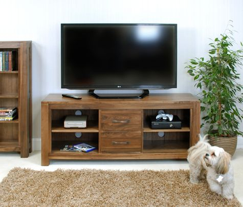 Well Known Cotswold Widescreen Tv Unit Stands Throughout Baumhaus Cwc09B Mayan Walnut Low Widescreen Tv Cabinet (View 3 of 15)