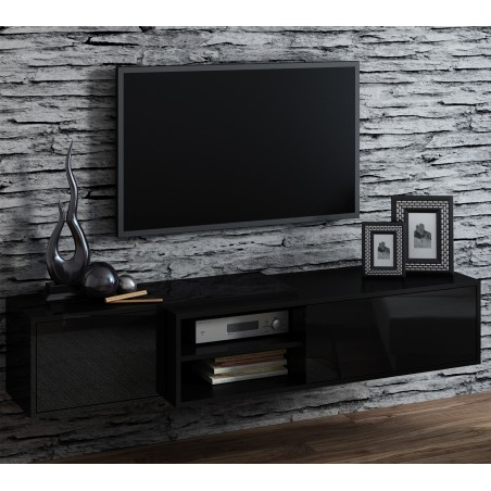 Well Known High Gloss Tv Cabinets In Bmf Sigma 1E Tv Stand 180Cm Wide Black High Gloss Push (View 8 of 15)