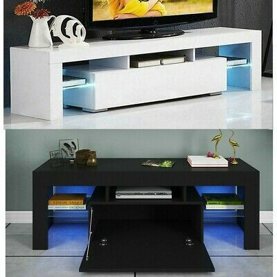 """Well Known High Gloss Tv Cabinets Throughout & 51"""" High Gloss Tv Unit Cabinet Stand W/Led Lights (View 12 of 15)"""