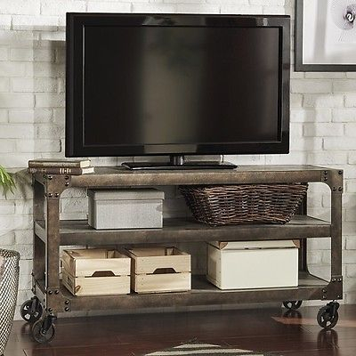 Well Known Industrial Corner Tv Stands Intended For Rolling Entertainment Stand Media Table Tv Metal Furniture (View 9 of 15)