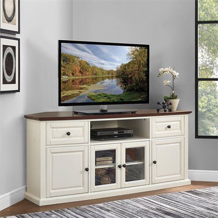 """Well Known Mahogany Tv Stands With Regard To Crosley Furniture Shelby 60"""" Corner Tv Stand In White With (View 14 of 15)"""