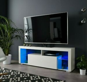 Well Known Modern White Gloss Tv Stands Intended For Modern White Tv Stand Unit Cabinet 160Cm Led Lights Matt (View 8 of 15)