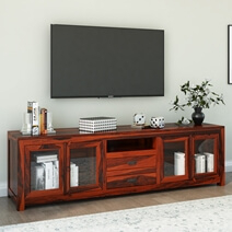 Well Known Rustic Wood Tv Cabinets Throughout Rustic Solid Wood Long Tv Media Stand Console (View 9 of 15)