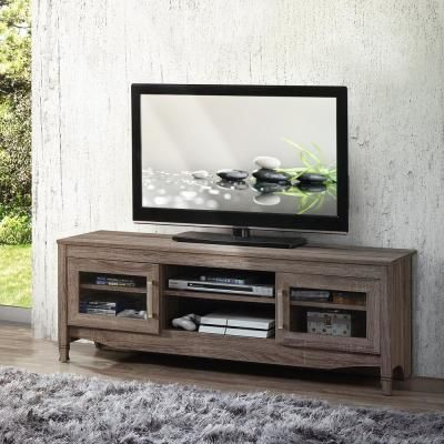 """Well Known Techni Mobili 53"""" Driftwood Tv Stands In Grey With Techni Mobili Gray Driftwood With Shelving And Storage (View 5 of 15)"""