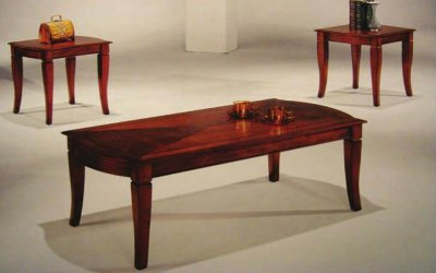 Well Known Tv Stand Coffee Table Sets Pertaining To Cherry Finish Elegant Traditional 3Pc Coffee Table Set (View 11 of 15)