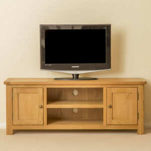 Well Liked Bromley Extra Wide Oak Tv Stands Pertaining To Roseland Oak Large Tv Cabinet Stand 132Cm Solid Wood Media (View 6 of 15)