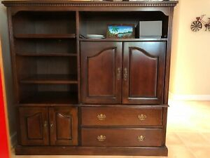 Well Liked Dark Wood Tv Stands With Regard To Solid Wood Dark Cherry Entertainment Center, Tv Stand (View 14 of 15)