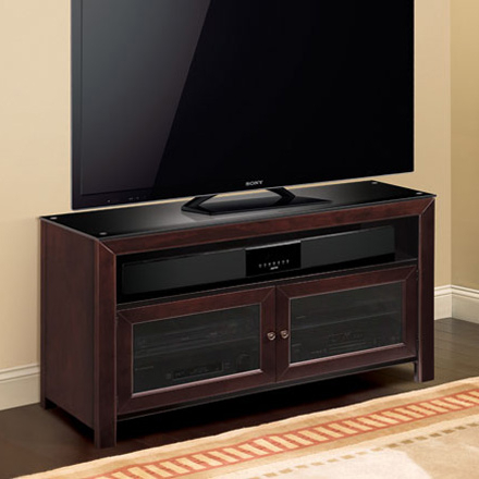 Well Liked Mahogany Tv Stands With Regard To Bello Wmfc503 No Tools Assembly Deep Mahogany Finish Wood (View 2 of 15)