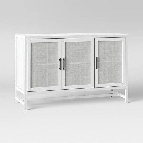 "Well Liked Mainstays 3 Door Tv Stands Console In Multiple Colors Regarding 50"" Warwick 3 Door Accent Tv Stand – Threshold (View 13 of 15)"