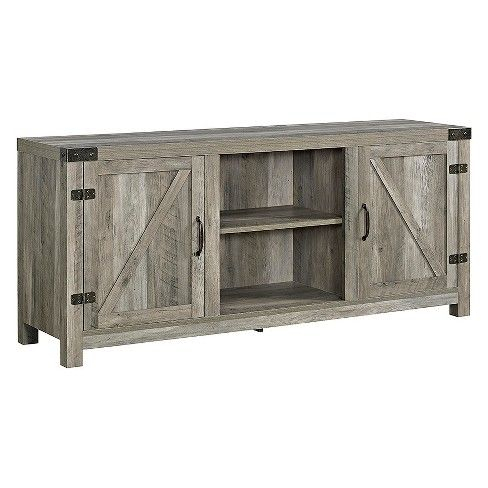 """Well Liked Modern Farmhouse Style 58"""" Tv Stands With Sliding Barn Door Throughout 2 Door Modern Farmhouse Barn Door Tv Stand For Tvs Up To (View 1 of 15)"""