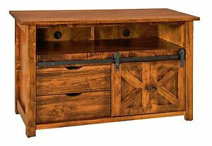 Well Liked Tv Stands With Sliding Barn Door Console In Rustic Oak Throughout Amish Rustic Tv Stand Cabinet Solid Wood Barn Door Sliding (View 6 of 15)