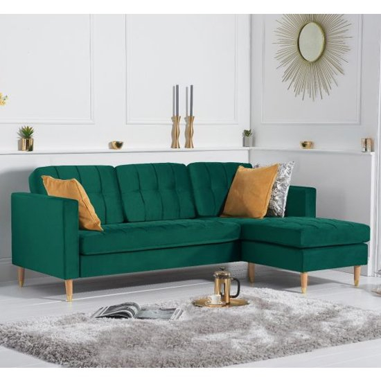 Weridge Velvet Reversible Chaise Corner Sofa In Green With Regard To London Optical Reversible Sofa Chaise Sectionals (View 8 of 15)