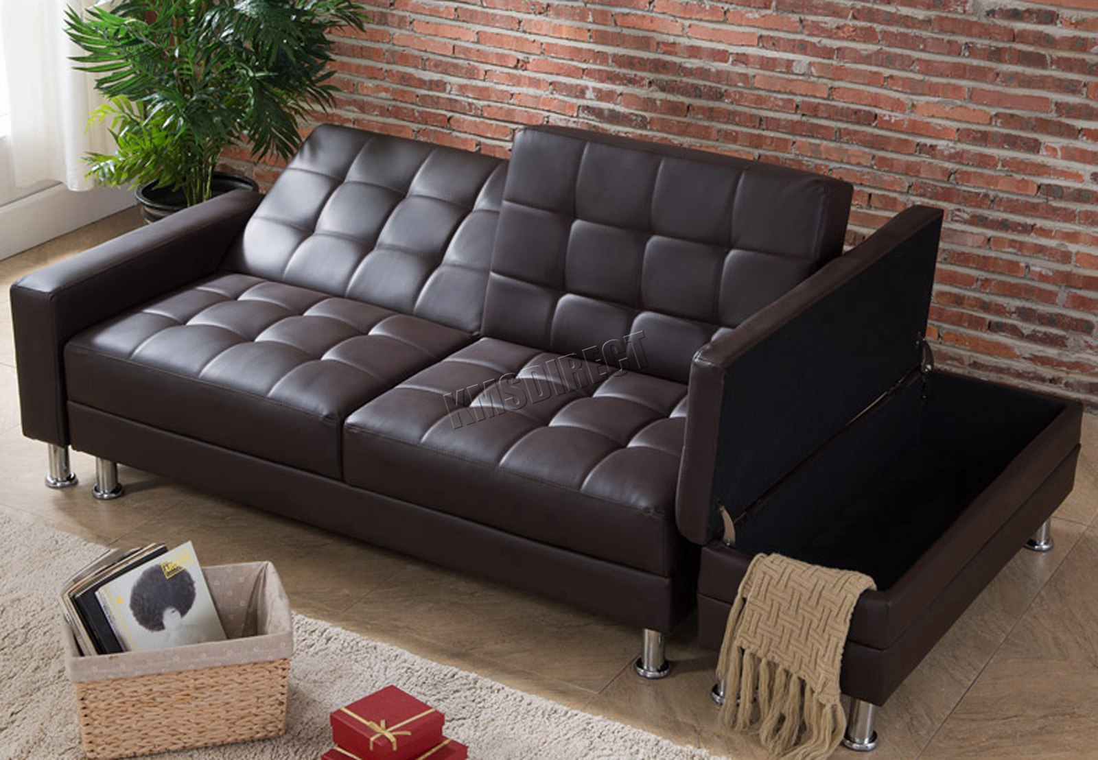 Westwood Pu Sofa Bed With Storage 3 Seater Guest Sleeper Throughout Hartford Storage Sectional Futon Sofas (View 12 of 15)