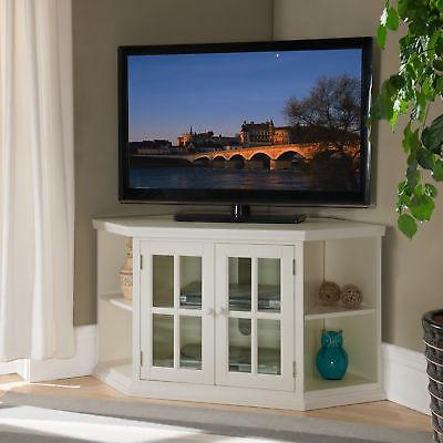 White 46 Inch Corner Tv Stand With Bookcases Regarding Well Known White Corner Tv Cabinets (View 1 of 15)
