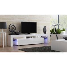 White High Gloss Tv Cabinet Stand Ultra Modern Television With Regard To 2018 Wide Tv Stands Entertainment Center Columbia Walnut/Black (View 13 of 15)