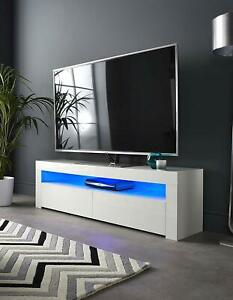 White High Gloss Tv Stand Cabinet Corner Entertainment With Regard To Well Known Zimtown Tv Stands With High Gloss Led Lights (View 3 of 15)