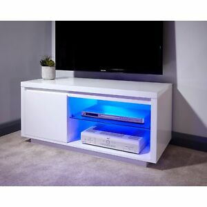 White High Gloss Tv Stand Night Glow Led Lights 1 Door Pertaining To 2017 Zimtown Tv Stands With High Gloss Led Lights (View 12 of 15)