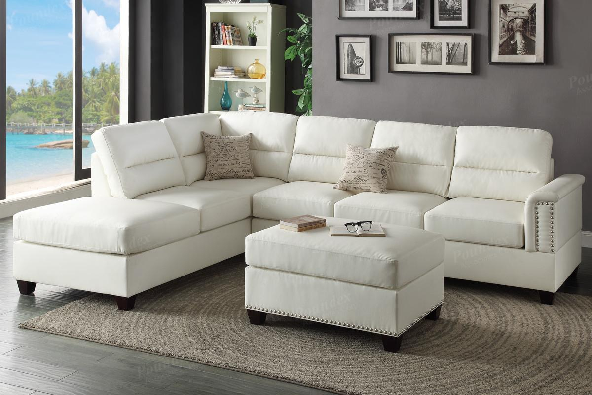 White Leather Sectional Sofa And Ottoman – Steal A Sofa With Los Angeles Sectional Sofas (View 5 of 15)