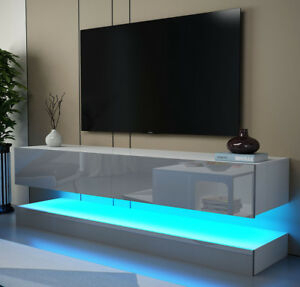 White Matt High Gloss Grey Tv Stand Cabinet Floating Wall Within Well Known Milano White Tv Stands With Led Lights (View 7 of 15)