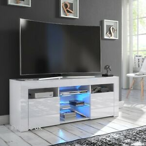 White Tv Stand Modern High Gloss &Matt 120Cm Unit Cabinet Within Most Up To Date Modern White Gloss Tv Stands (View 3 of 15)