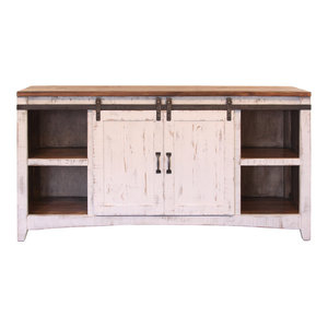 """White Wash 60"""" Tv Stand With Sliding Barn Doors Pertaining To Trendy Bergen Tv Stands (View 4 of 15)"""