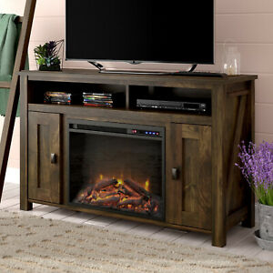 Whittier Tv Stand W Remote Electric Fireplace Rustic Style Throughout Well Known Rustic Wood Tv Cabinets (View 12 of 15)