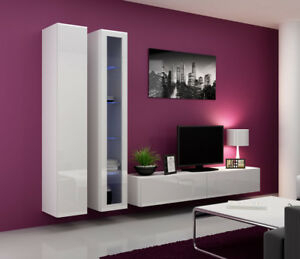Widely Used 57'' Tv Stands With Led Lights Modern Entertainment Center Intended For Seattle 9 – Gloss White Entertainment Set Furniture (View 15 of 15)