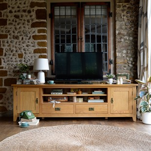 Widely Used Bromley Extra Wide Oak Tv Stands Intended For Solid Wood Oak, Pine & Painted Tv Stands & Tv Units – The (View 5 of 15)