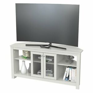 Widely Used Retro Corner Tv Stands Throughout Inval Corner Tv Stand With Glass Doors In Washed Oak (View 13 of 15)